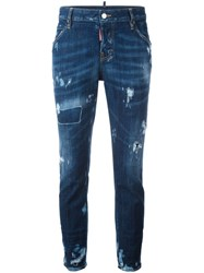 Dsquared2 Cool Girl Distressed Detail Jeans Blue