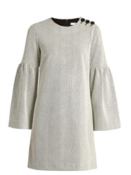 Tibi Bell Sleeve Ribbed Dress Ivory Multi