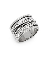 Saks Fifth Avenue Multi Texture Bling Ring Silvertone