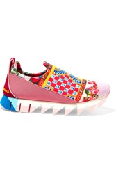 Dolce And Gabbana Ibiza Suede Trimmed Printed Neoprene Sneakers Red
