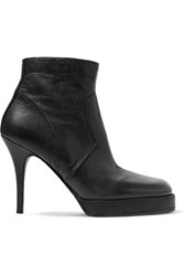 Rick Owens Textured Leather Ankle Boots Black