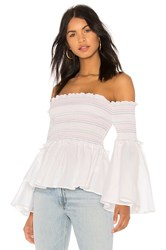 Central Park West Primrose Off The Shoulder Top White