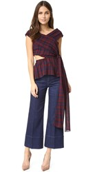 Tanya Taylor Gauzy Plaid Phoebe Top Burgundy Midnight