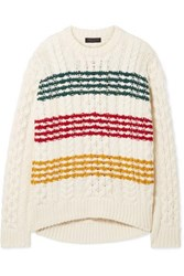 Rag And Bone Mindy Striped Cable Knit Wool Sweater White