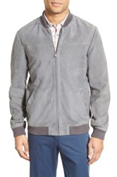 Ted Baker Vipers Genuine Suede Bomber Jacket Gray