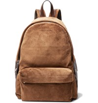 Brunello Cucinelli Leather Trimmed Suede Backpack Tan