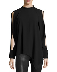 Nicholas Long Sleeve Mock Neck Top Black