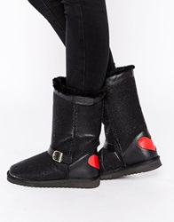 Love Moschino Buckle Strap Cozy Ankle Boots Stttod021i420