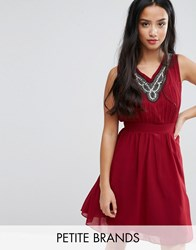 Yumi Petite Skater Dress With Embellished Neckline Burgundy Red