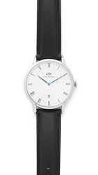 Daniel Wellington Dapper Sheffield 38Mm Leather Band Watch Silver