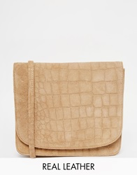 Warehouse Suede Croc Crossbody Tan