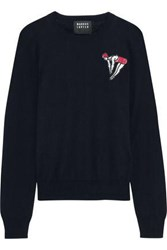 Markus Lupfer Grace Sequin Embellished Cotton Sweater Midnight Blue