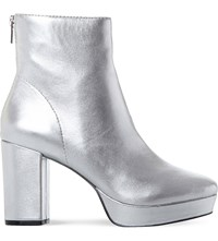 Steve Madden Peace Sm Leather Ankle Boot Silver Leather