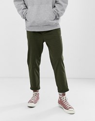 Pull And Bear Slim Tailored Pants In Khaki Green