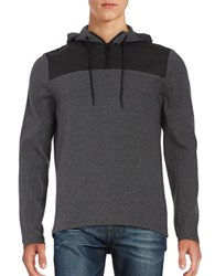 Kenneth Cole Paneled Knit Quarter Zip Hoodie Flannel Heather