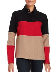 Karl Lagerfeld Colorblocked Wool Blend Cardigan Camel Red