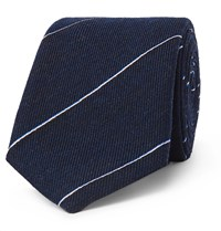 Dunhill 7Cm Striped Wool And Mulberry Silk Blend Tie Blue