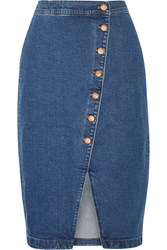 Madewell Stretch Denim Wrap Skirt Mid Denim