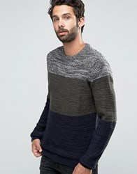 Pull And Bear Pullandbear Colour Block Jumper In Khaki Navy Navy