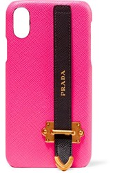 Prada Embellished Neon Textured Leather Iphone X Case Pink