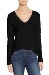 James Perse Women's Slub Cotton V Neck Long Sleeve Tee