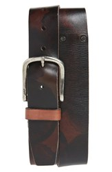 John Varvatos Star Usa Marble Stained Leather Belt Distressed Brown