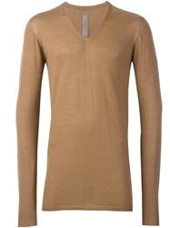 Rick Owens V Neck Jumpr Nude And Neutrals