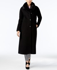 Jones New York Faux Fur Collar Maxi Coat Black