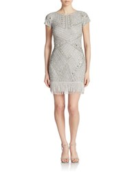 Aidan Mattox Fringed And Patterned Mesh Party Dress Silver