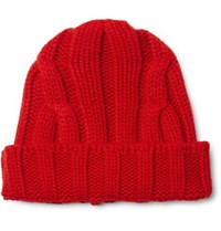 Connolly Ribbed Merino Wool And Cashmere Blend Beanie Red