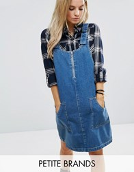 Noisy May Petite Denim Dungaree Dress With D Ring Detail Mid Wash Blue