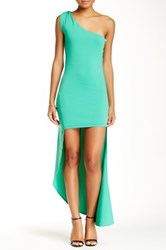 L'atiste One Shoulder Hi Lo Dress Green