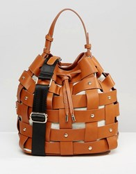 Mango Weaved Stud Bucket Bag Tan