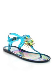 Ivy Kirzhner Jezabelle Jeweled Rubber Thong Sandals Pink Blue