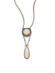 Konstantino Erato Labradorite 18K Yellow Gold And Sterling Silver Drop Pendant Necklace Silver Gold