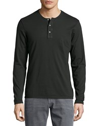 Ag Adriano Goldschmied Long Sleeve Henley T Shirt Olive Green