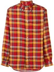 Gitman Brothers Vintage Checked Flannel Shirt Red