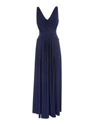 Biba Pleat Detail Full Skirted Maxi Dress Navy