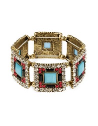Robert Rose Multi Stone Tile Stretch Bracelet Turquoise