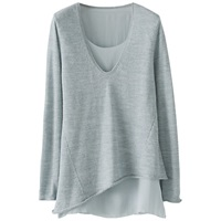 Poetry Fine Knit Tunic Top Frosted Teal