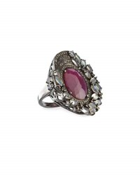 Bavna Moonstone Composite Ruby And Diamond Cocktail Ring