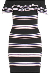 Msgm Off The Shoulder Striped Stretch Cotton Blend Mini Dress Black