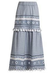 Dodo Bar Or Ataliya Eyelet Embellished Cotton Midi Skirt Blue White