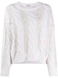 Brunello Cucinelli Sequined Cable Knit Jumper 60