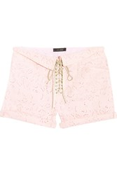 Isabel Marant Izard Broderie Anglaise Cotton Twill Shorts Pink