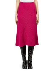 Kenzo Textured Wool Midi Skirt Deep Fuchsia