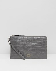 Marc B Leanne Croc Wristlet Clutch Bag Grey