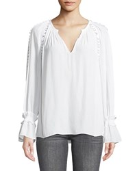 Ramy Brook Sheila V Neck Long Sleeve Top With Grommet Trim White