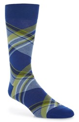 Lorenzo Uomo Diagonal Plaid Crew Socks Royal Blue
