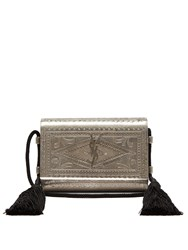 Saint Laurent Kate Engraved Metal Cross Body Bag Silver